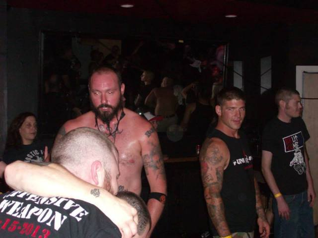 "Cody Hoebel of Atlantic City ""Skinheads"" and of the white power band Chaos 88 is wearing the tank top second from left during the July 26 show."