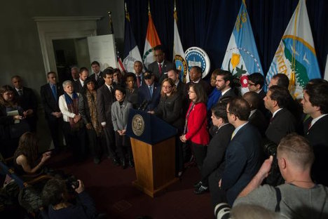 City Council Member press conference in support of the NYPD (photo: William Alatriste)