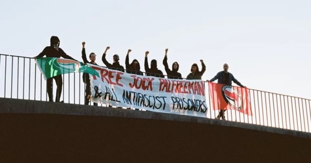 Anti-Fascist Action in Sydney does a banner action for Jock Palfreeman and all antifa prisoners!